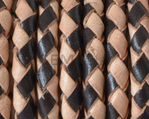 Bolo Braided Round Leather Cord. 5mm. Black-natural color.