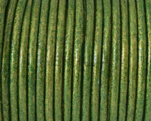 Round Leather cord. 3mm. Metal green.