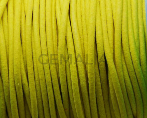 Round leather Cord. 2mm. Fluorescent yellow. Best Quality.