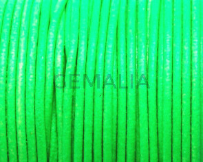 Round leather Cord. 2mm. Fluorescent green. Best Quality.