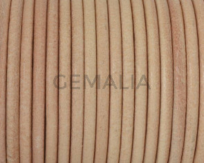 Round Leather cord. 3mm. Natural. Best Quality.