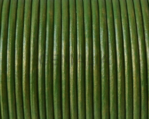 Round leather Cord. 2mm. Metal green.