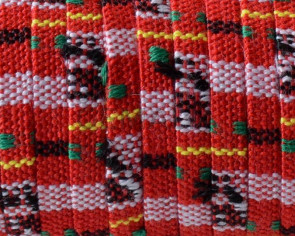 Ethnic Cotton cord. Flat. 5x1.5mm. Dark Red-multicolor.