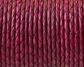 Bolo Braided Round Leather Cord. 3mm. Fucsia vintage.