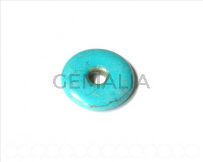 Natural turquoise. dyed. 40x40x8mm donut.