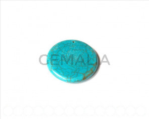 Natural turquoise. dyed. Donut 40x7mm. 1 PIECE.