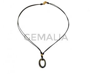 NECKLACE leather cord-zamak-swarovski