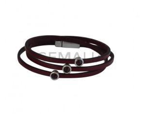 BRACELET leather cord-zamak-swarovski