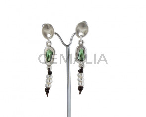 EARRINGS  Zamak - leather cord - SWAROVSKI