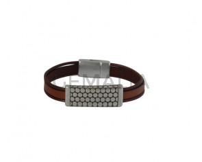 BRACELET leather cord-zamak