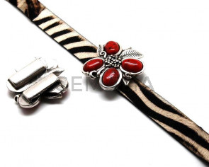 Zamak. Flower. 55x55mm. Red. Inn. 30x3mm.
