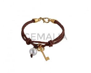 BRACELET leather cord-zamak-pearl