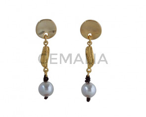 EARRINGS  Zamak-leather cord-pearl