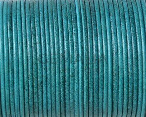 Kangaroo leather cord 1.6mm round. Blue turquoise. Best Quality