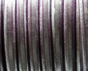 REGALIZ Leather cord. Oval 10x6mm. Metal Lilac. BEST QUAL.
