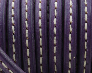 Stitched REGALIZ Leather cord. Oval 10x6mm . Purple. Bets quality.