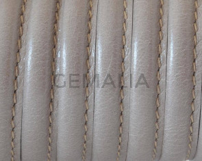 Round Leather cord. 7mm. Beige. Best Quality.