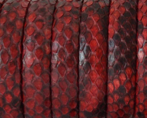 Python skin Leather cord. Half Round. 10x5mm. Red.