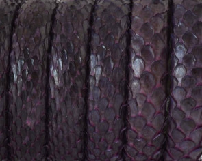 Python skin Leather cord. Half Round. 10x5mm. Violet.