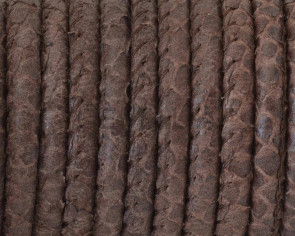 Round Leather cord. 5mm. Snake engraved. Dark brown