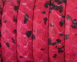 Python skin Leather cord. Half Round. 10x5mm. Fuchsia.