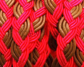 Bolo Braided Flat Leather Cord. 10x2mm.  Fuchsia-natural