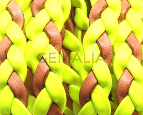Bolo Braided Flat Leather Cord. 10x2mm.  Yellow-natural.