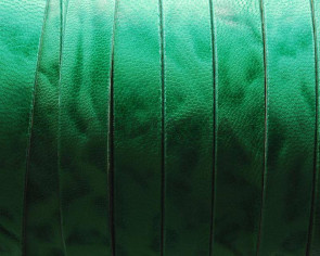 Flat Leather cord. 13x2mm. Vintage. Green. Best Quality.