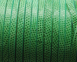 Suede Leather cord. Luxus. Flat. 6x2mm. Green. Best.