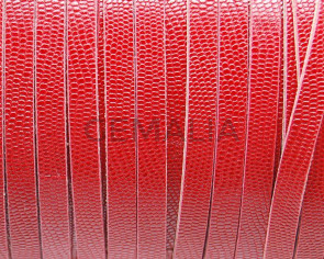 Flat Leather cord. 3x2mm. Engraved. Red. Best Quality.