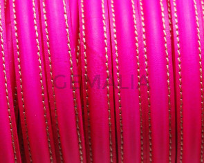 Half Round Leather cord. 10mm. Fluorescent fuchsia. Best Quality. .