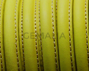 Leather cord. Half Round. 10mm. Fluorescent yellow. Best Quality.