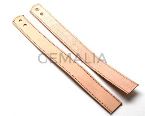Leather Bracelet. 24x420mm.Natural color.Hole 6mm.Best Quality.