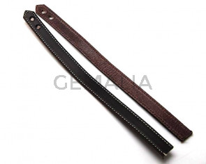 Leather Bracelet. 15x470mm. Dark brown.Hole 6mm.Best Quality.
