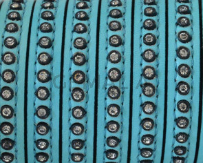 Flat Leather cord with strass. 8x3mm. Sea green-crystal strass. Best Quality.