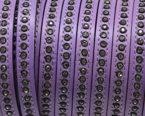 Flat Leather cord with strass. 8x3mm.  Lilac-crystal strass. Best Quality.