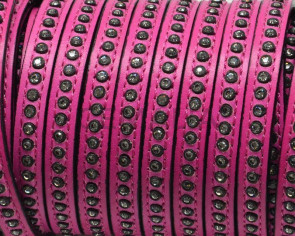 Flat Leather cord with strass. 8x3mm.  Fuchsia-crystal strass. Best Quality.