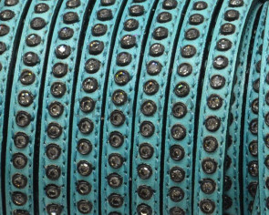 Flat Leather cord with strass. 6.5x3mm.  Sea green-crystal strass. Best Quality.