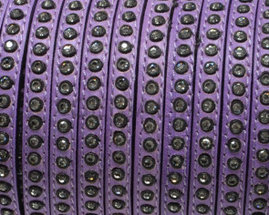 Flat Leather cord with strass. 6.5x3mm. Lilac-crystal strass. Best Quality.