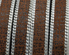 Flat Leather cord with chain. 10x2mm. Brown-silver. Best Quality.