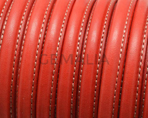 Half Round Leather cord. 10x5mm. Red. Best Quality. Inn.1,5mm.