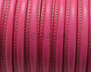 Half Round Leather cord. 10x5mm. Fuchsia. Best Quality. Inn.1,5mm.