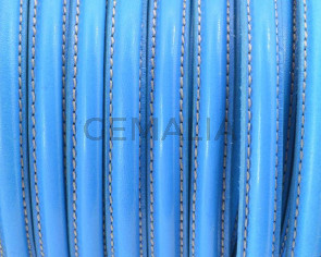 Half Round Leather cord. 10x5mm. Light blue. Best Quality. Inn.1.5mm.