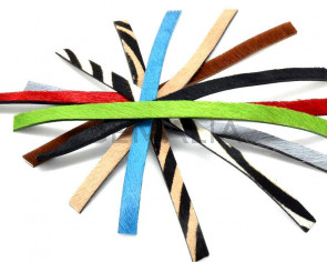 Colored cow hair Flat leather cord. 10x2mm. Multicolor.