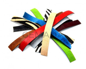 Colored cow hair Flat leather cord. 20x2mm.