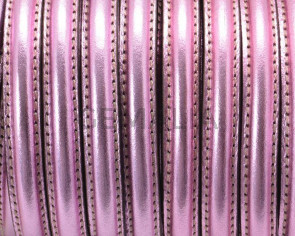 Half Round Leather cord. 10x5mm. Metal pink. Inn.1.8mm. Best Quality.