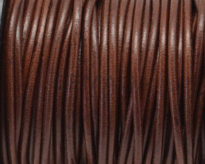 Round Leather cord. 3mm. Cognac. Best Quality.
