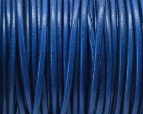 Round Leather cord. 3mm. Blue. Best Quality.