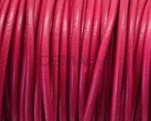 Round Leather cord. 3mm. Fuchsia. Best Quality.