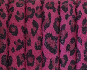 REGALIZ leather cord. Oval 10x6mm. Leopard. Fuchsia. Best Quality.